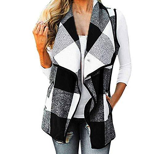 - AMOFINY Womens Vest Plaid Sleeveless Lapel Open Front Cardigan Jacket Pockets