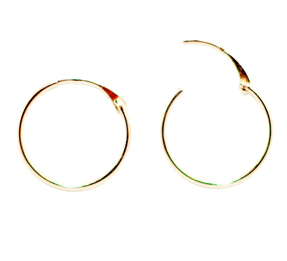10-14mm 0.39-0.55 inches 14K Gold Continuous Endless Hinged Thin Hoop Earrings 1mm Tube