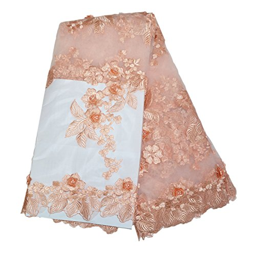 LaceQiao 5 YardsNew Design African Lace Fabric with Beads Lace Fabric 3D Flower for Nigerian Lace Fabrics Peach for Dress (Peach)