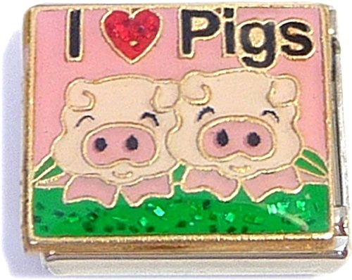 I Love Pigs Italian Charm