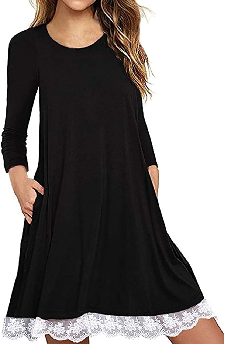 Womens Long Sleeve Lace Tunic Dress Plus Size Cotton Solid Color Crew Neck T Shirt Dress with Pockets Black
