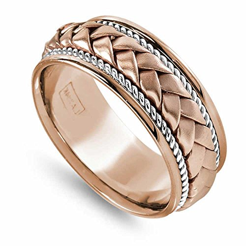 14K Two Tone (Rose and White) Gold Braided Basket Weave Men's Wedding Band (8.5mm) Size-13c2