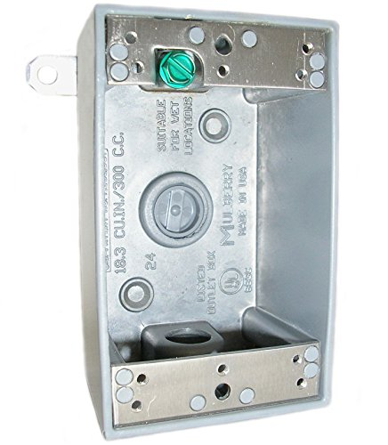 Mulberry Metal 30203 Weatherproof Outlet Box, 1-Gang, 2