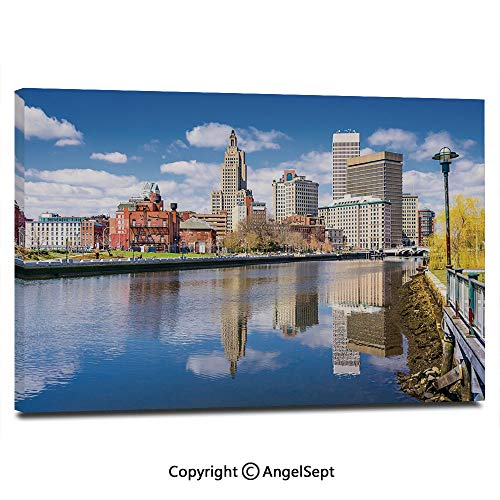 Modern Gallery Wrapped Providence Rhode Island Riverfront Spring Season Water Reflection Buildings Decorative Pictures on Canvas Wall Art Ready to Hang for Living Room Kitchen Home Decor,12