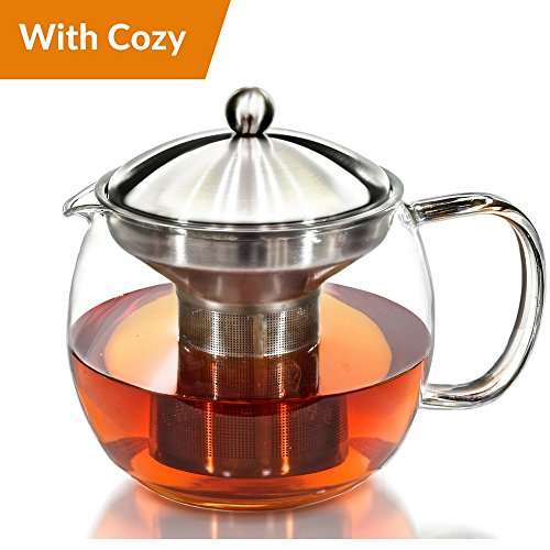 Teapot Kettle with Warmer - Tea Pot and Tea Infuser Set - Gl