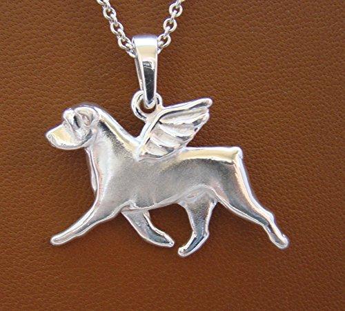 Large Sterling Silver Rottweiler Angel Pendant