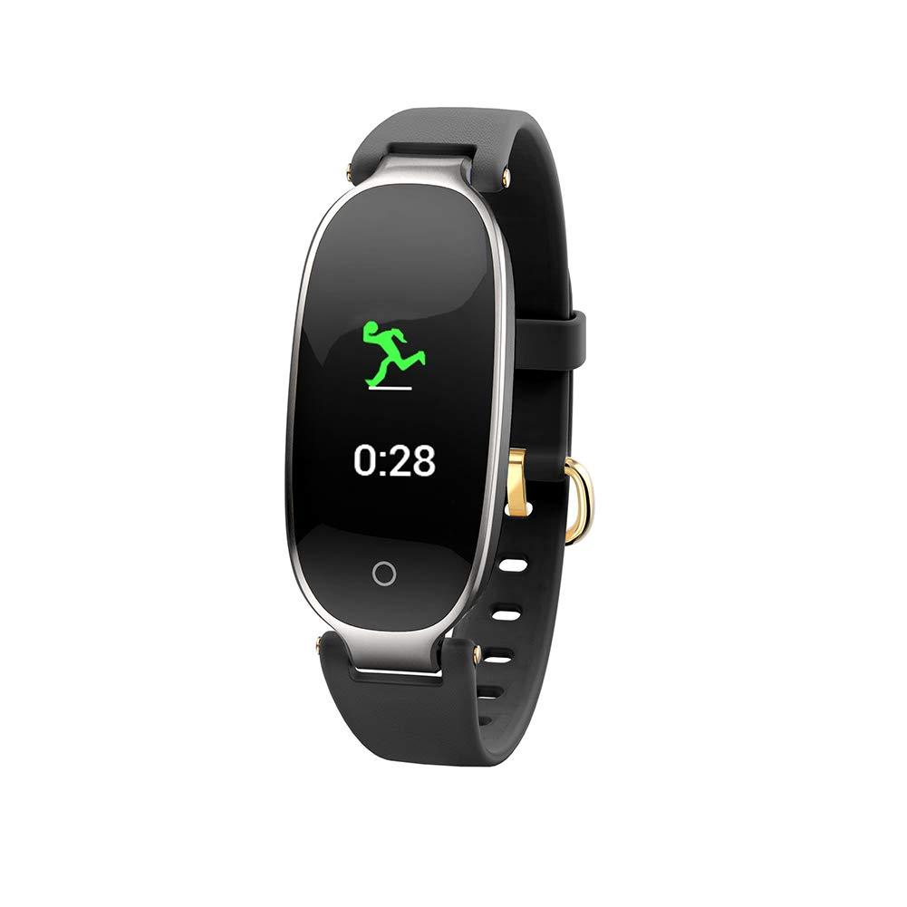 Noir ZJTA Fitness Tracker, 0,96 Pouces Couleur écran Affichage fréquence Cardiaque Bracelet Dames Sport bleutooth imperméable à l'eau Anti-Usure étape santé S3 Smart Bracelet Table,noir