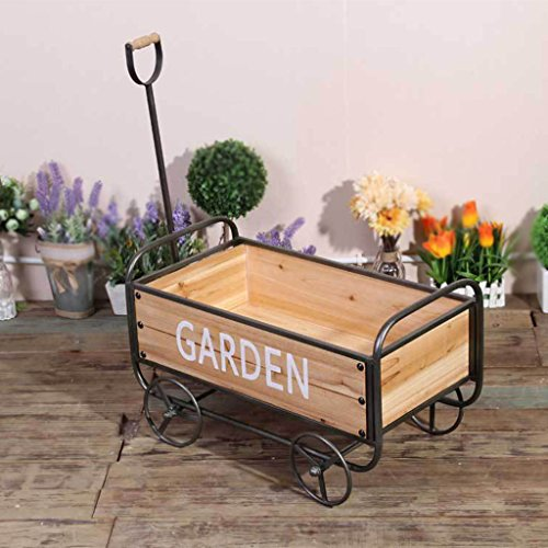 WLWWY Retro Jardín Go-Cart Decoración De Madera Jardín Al Aire Libre Patio Flor Bulldozer Carro 52.5 * 29.5 * 36 Cm,Yellow