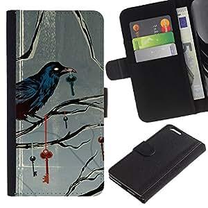 LASTONE PHONE CASE / Lujo Billetera de Cuero Caso del tirón Titular de la tarjeta Flip Carcasa Funda para Apple Iphone 6 PLUS 5.5 / Key Metaphor Deep Gray Grey