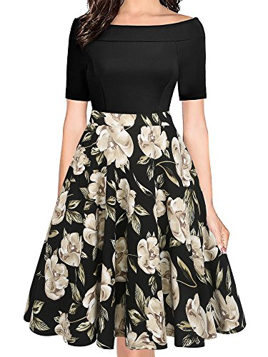 oxiuly Women's Vintage Boat Neck Pockets Casual Floral A-Line Party Cocktail Dress OX232 (S, Black Khaki) ()