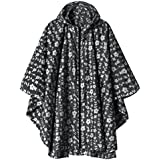 LINENLUX Waterproof Rain Poncho Jacket Coat for Adults Hooded with Zipper(Black Floral)
