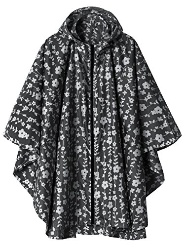 Waterproof Rain Poncho Jacket Coat for Adults Hooded with Zipper(Black Floral) -