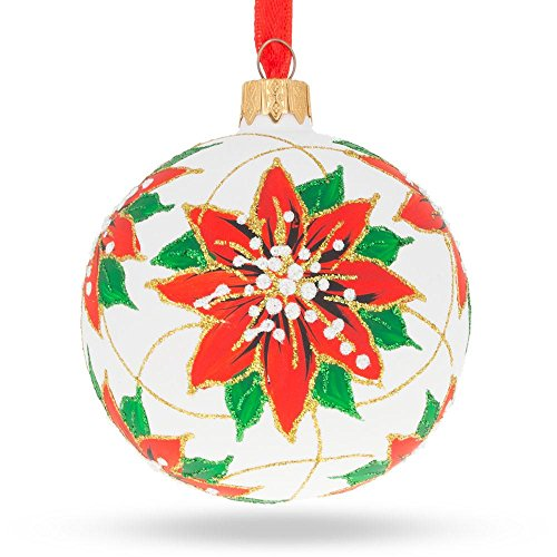 BestPysanky Poinsettia Flowers Glass Ball Christmas Ornament 3.25 Inches