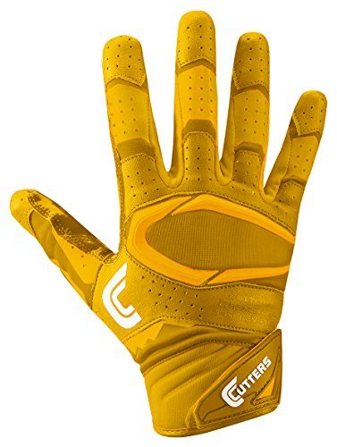 Cutters Gloves Rev Pro 2.0 Receiver Football Gloves, Solid Gold, Medium Cutters Football Receiver Glove