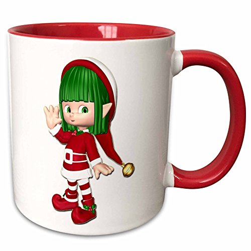 3dRose Blonde Designs Happy Holidays For All - Adorable Holiday Elf Girl - 15oz Two-Tone Red Mug -