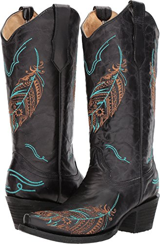 Corral Feather Tan Toe Black On Leather B Snip Turquoise Boots Black 14 Women's 12 Embroidery inch 5 Sizes Pull rwxSrqY