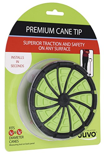 Juvo Products Premium Cane Tip with Extra Wide Base, Fits 3/4 or 7/8 Diameter Canes, Green/Black (SCT01)