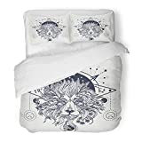 Emvency Bedding Duvet Cover Set Twin (1 Duvet Cover + 1 Pillowcase) Hipster Mystic Lion Tattoo Alchemy Religion Spirituality Occultism and Design Africa Hotel Quality Wrinkle and Stain Resistant