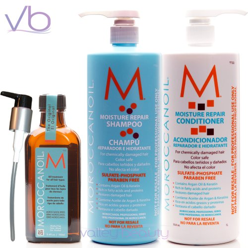 Moroccanoil Shampoo (33.8 Oz.), Conditioner (33.8 Oz) and Oil Treatment (3.4 Oz) Set by Moroccanoil