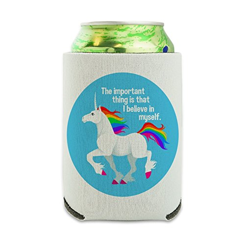 Unicorn The Important Thing is That I Believe in Myself Can Cooler - Drink Sleeve Hugger Collapsible Insulator - Beverage Insulated - Koozie Unicorn
