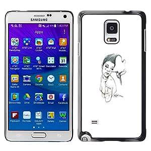 EJOY---Cubierta de la caja de protección la piel dura para el / Samsung Galaxy Note 4 / --Pink & Bird