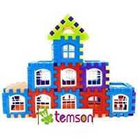 TEMSON Mega Jumbo Happy Home House Building Blocks with Attractive Windows and Smooth Rounded Edges - Building Block Toys for Kids Educational Learning Building and Construction Blocks (079)