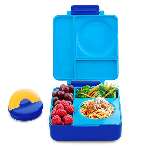 OmieBox Bento Box with Thermos Kids | Insulated and Leak Proof Bento Box Container for Kids, 3 Compartments, Two Temperature Zones for Hot & Cold Food - (Blue Sky) (Single)