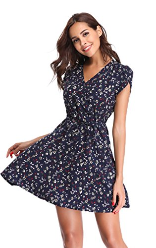 Blue Pattern Dress - Argstar Women's Short Sleeves V Neck Boho Casual Floral Dress