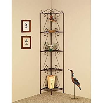 Corner Bookcase With Decorative Scrolls Copper