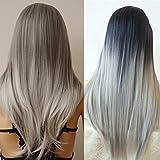 S-noilite Straight/Curly Ombre 3/4 Full Head Half Wigs Heat Resistan Wig by USPS
