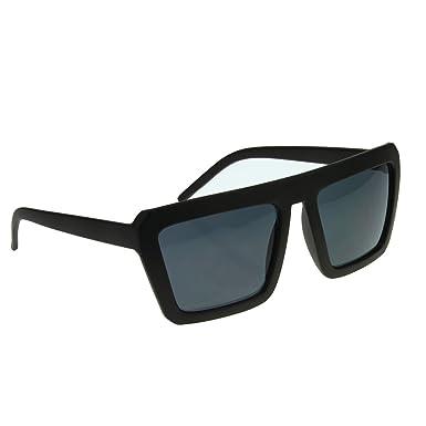 3b77f6c0b7 BXT Unisex Large Oversized Vintage Fashion Square Flat Top Sunglasses UV400  100% Protection (Grey Lens+Matte Black Frame)  Amazon.co.uk  Clothing
