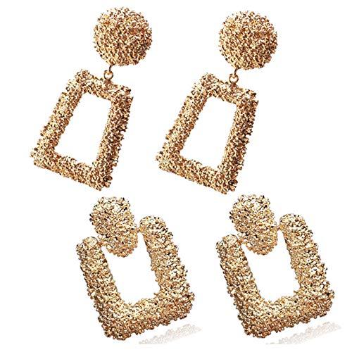 Spiritlele 2 Pack Geometric Statement Earrings Set Gold Large Metal Drop Earrings For Women ()