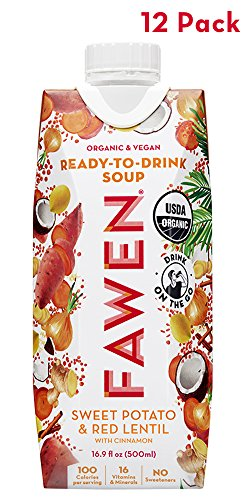 Ready to Drink Organic Vegan Superfood Soup Sweet Potato & Red Lentil with Cinnamon - Light Meal or Healthy Snack (12 pack) (Life Veggie Potato Sweet)