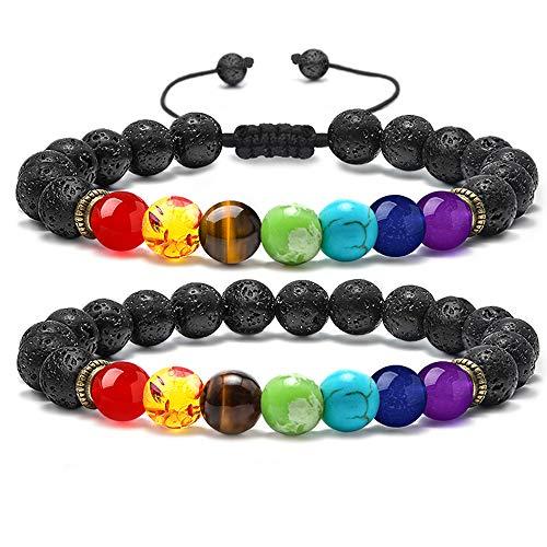MONOZO Bead Chakra Bracelet – 7 Chakras 8mm Lava Rock Stone Anxiety Bracelet Essential Oil Diffuser Stone Yoga Beads…