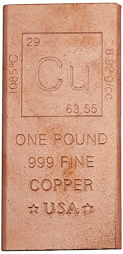 1 Pound Copper Bar Bullion Paperweight - 999 Pure Chemistry Element Design by Metallum Gifts