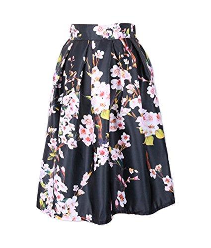 Jixin4you Jupe Floral Fille Femme Dame Et Mi-longue Anniversaire Plage Voyage Vacances Elastique Noir