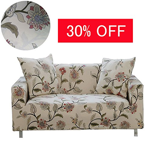 Floral Slipcover - ENZER Stretch Sofa Slipcover Flower Bird Pattern Chari Loverseat Couch Cover Elastic Fabric Kids Pets Protector (2 Seater, Flower Vine)