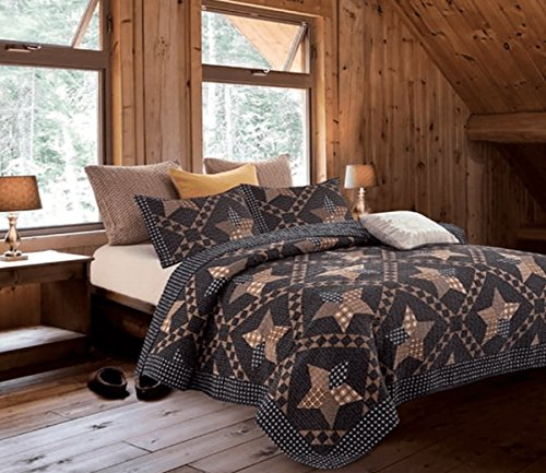 Ranch Bedspread Style (Country Lodge Primitive Americana Black and Brown Star 3pc Full/Queen Size Quilt Set + Metal BARN Star!)