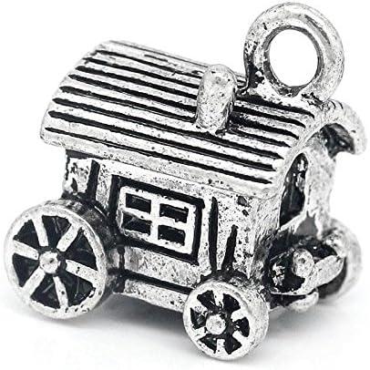 5 x Tibetan Silver CARAVAN GYPSY ROMANY TRAVELLERS 3D 17mm Charms Pendants Beads