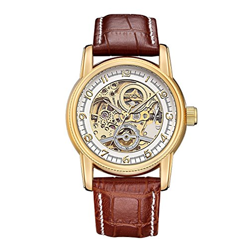 (GuTe Dress Style Unisex White Auto Mechanical Wristwatch Skeleton Gold-tone Watch)