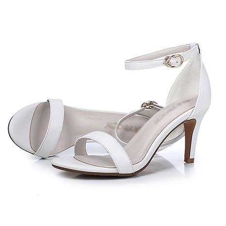 130573f1d3ed4 Meng Wei Shop Sandali in pelle di vacchetta donna fibbia tacco alto 7 cm  con sandali