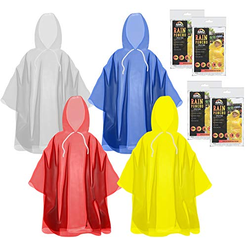 The Clean Explorer Disposable Rain Ponchos with Hood and Drawstring: Extra Thick (Adult and Child Sizes) (Multi Color - Child Size)