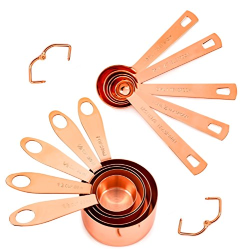 Copper Measuring Cups and Spoons, Set of 10: EXTRA STURDY Copper-Plated Top-Quality Stainless Steel. Satin, and Mirror Polish. Engraved in Both US and Metric ml Measurements. Stackable. Copper Finish