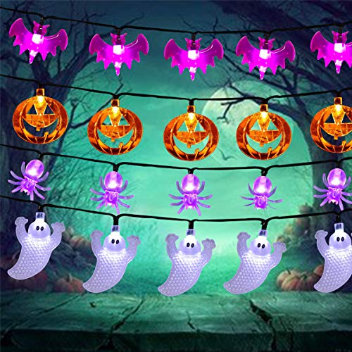 4 Pack Halloween String Lights, 30 LED Lights 13.45 Foot Halloween Pumpkin Ghost Bat Spider Lights,Orange Purple White Halloween Lights for Indoor/Outdoor Halloween Holiday Party -