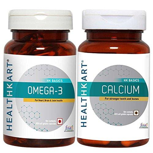 HealthKart Omega (60 caps) + Calcium (60 caps), Pack of 2 product image