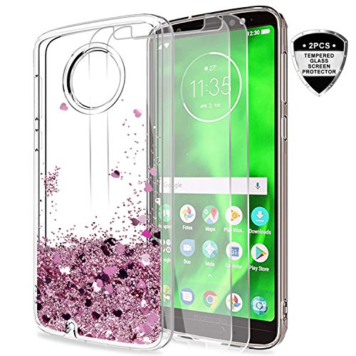 Moto G6 Glitter Case with Tempered Glass Screen Protector [2 Pack] for Girls Women,LeYi Bling Moving Liquid Quicksand Protective Phone Case for Motorola G6 ZX Rose Gold