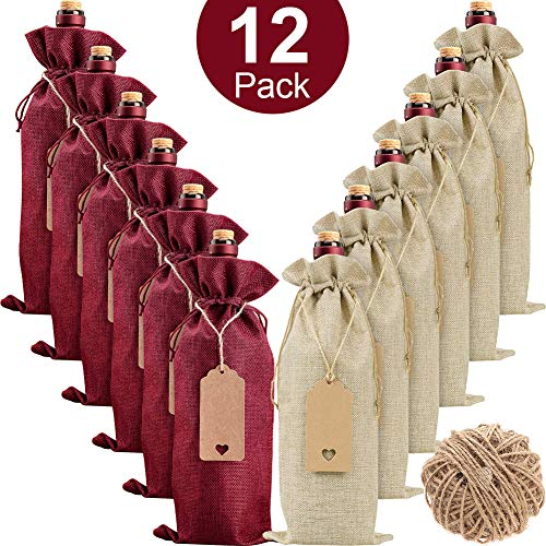 Burlap Wine Bags Wine Gift Bags, 12 Pcs Wine Bottle Bags with Drawstrings, Tags & Ropes, Reusable Wine Bottle Covers for Christmas, Wedding, Birthday, Travel, Holiday Party, Housewarming, Home Storage
