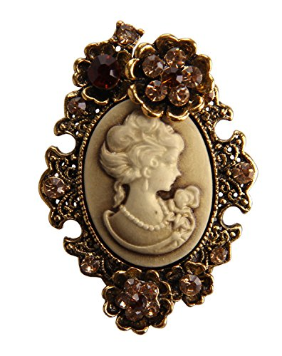 Brooch Cameo Pin Flower (Grace Angel Old Style Cameo Crystal Rhinestone Lady Maiden Flower Pin Brooch BR006)