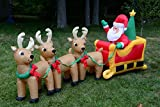 Christmas Lighted Airblown Inflatable Santa on Sleigh w. Three Reindeers 9ft Long Yard Decoration