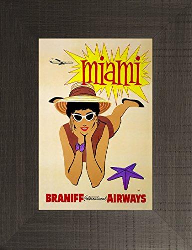Miami 26x20 Travel Poster Florida Vacation Braniff Airways Daytona 500 South Beach Atlantic Ocean Alligator Sailing Dolphins Heat Marlins Hurricanes Framed Art Print Wall Décor Picture
